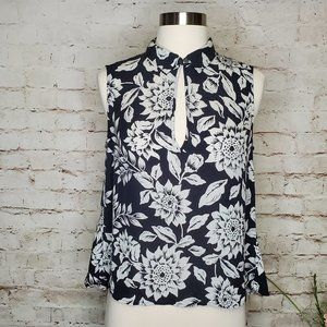 Theory B&W Sunflower Print Silk Top  M EUC